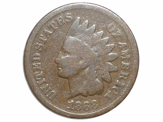 1868 Obverse of CUD-002 - Indian Head Penny - Photo by David Poliquin