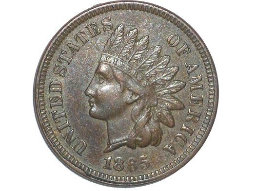 1865 Obverse of ODD-003 - Indian Head Penny - Photo by David Poliquin