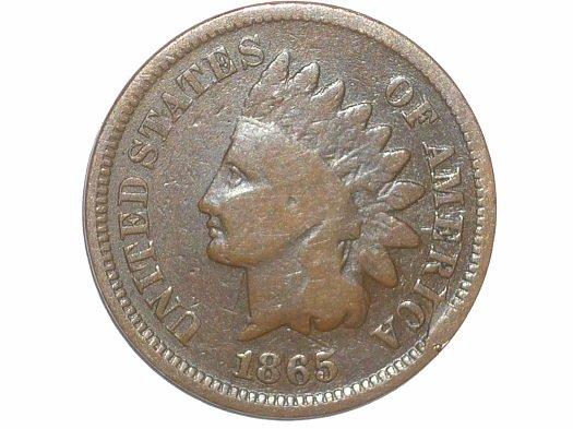 1865 CUD-004 - Indian Head Penny - Photo by David Poliquin