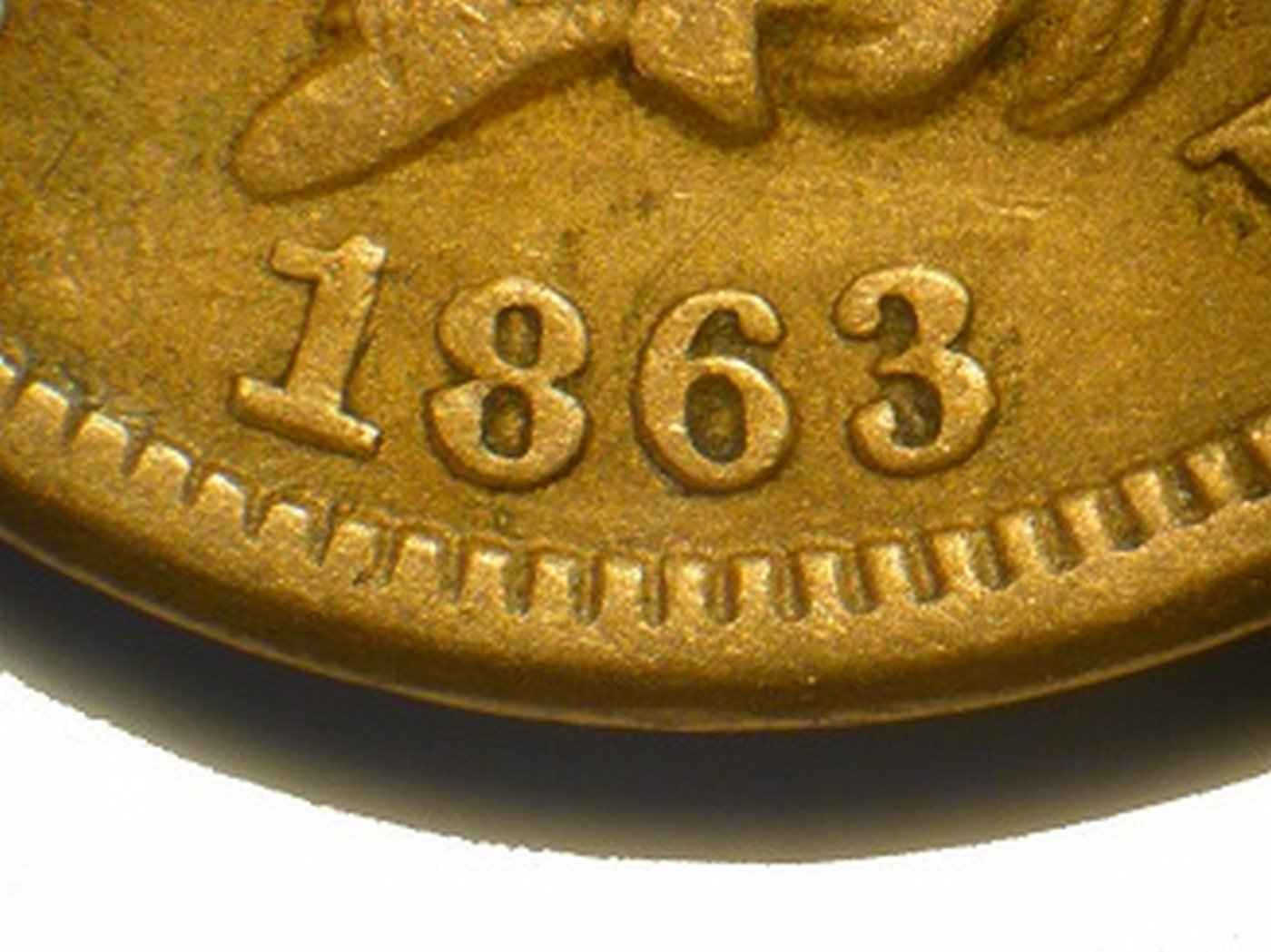 1863 Obverse of CRK-003 - Indian Head Penny - Photo by David Poliquin
