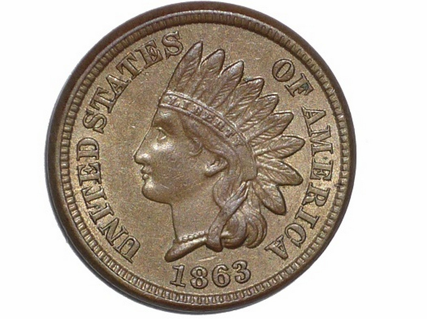 1863 Obverse of ODD-008, CUD-019 - Indian Head Penny - Photo by David Poliquin