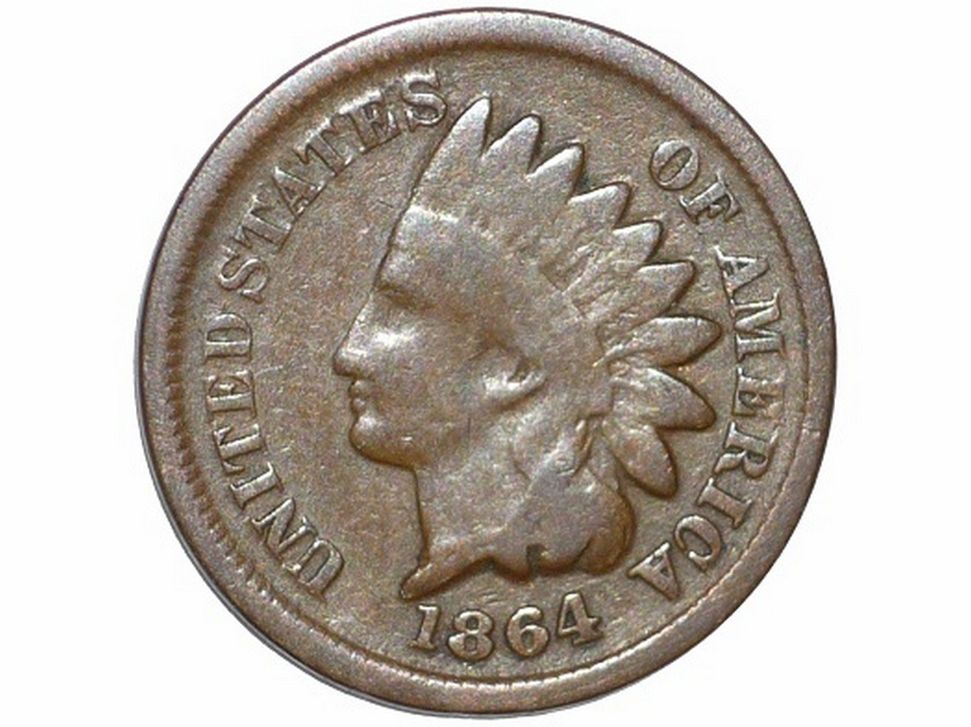 1864 Obverse of CUD-002 - Indian Head Penny - Photo by David Poliquin