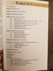 Table of Contents - The Top Flying Eagle and Indian Head Cent Die Varieties book by Russell Doughty